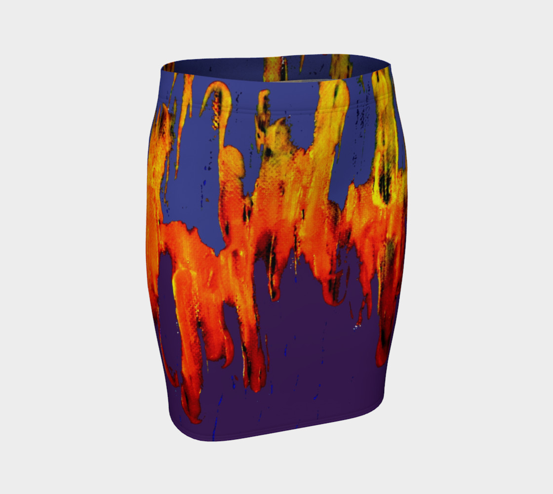 Lava in Purple and Orange Fitted Skirt preview #1