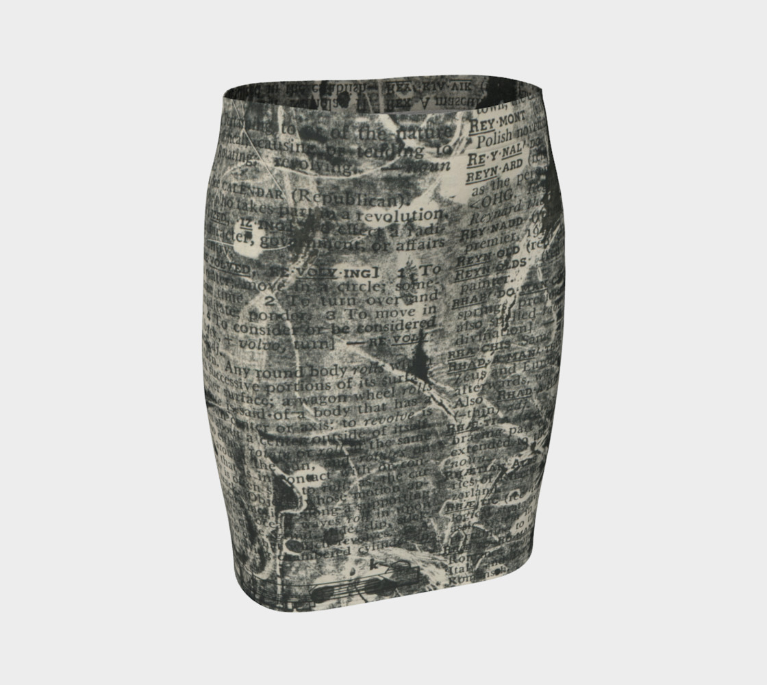 Dictionary Print Fitted Skirt preview #1