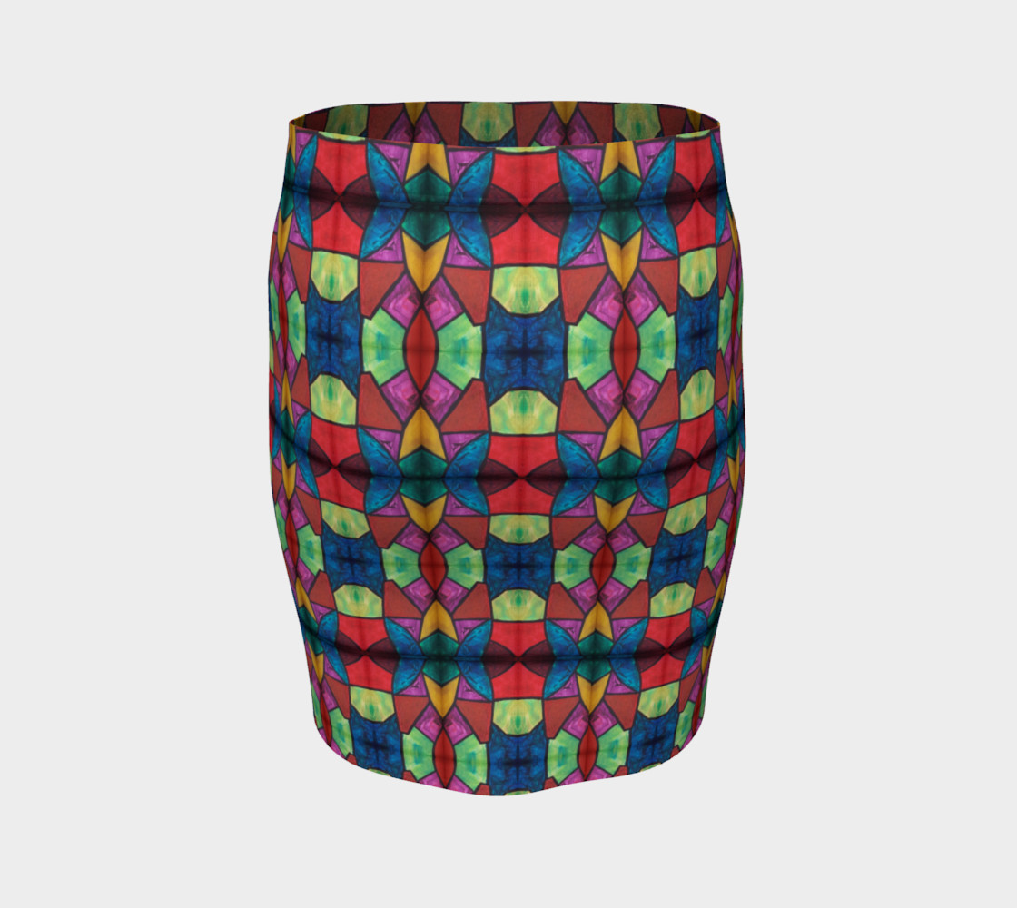 Cross and Flower Mosaic Fitted Skirt I preview #4