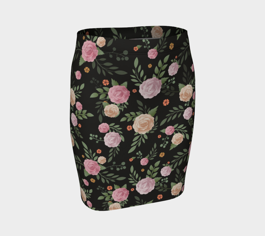 Black Floral Fitted Skirt 3D preview
