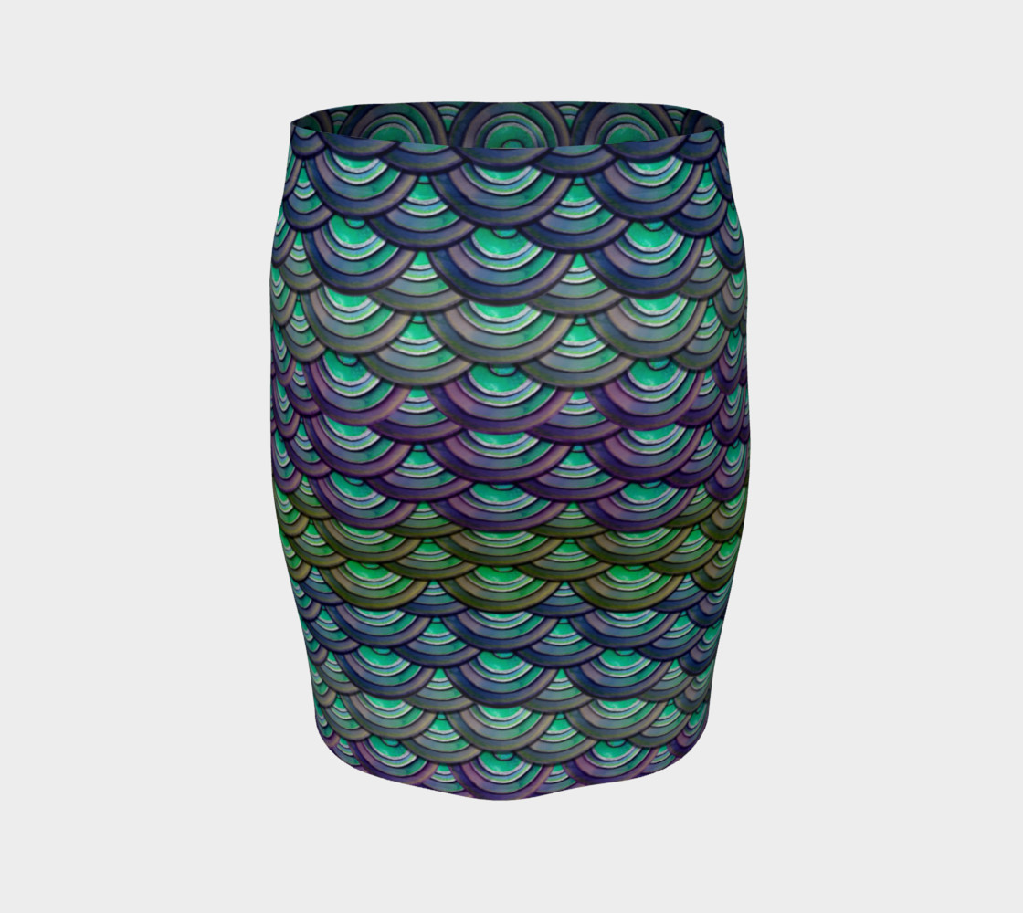 Handpainted Cut Paper Dragon Mermaid Scale Tight Skirt preview #4