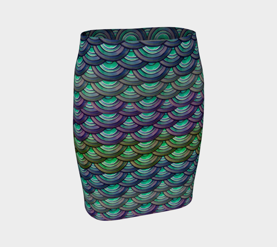 Handpainted Cut Paper Dragon Mermaid Scale Tight Skirt preview #1