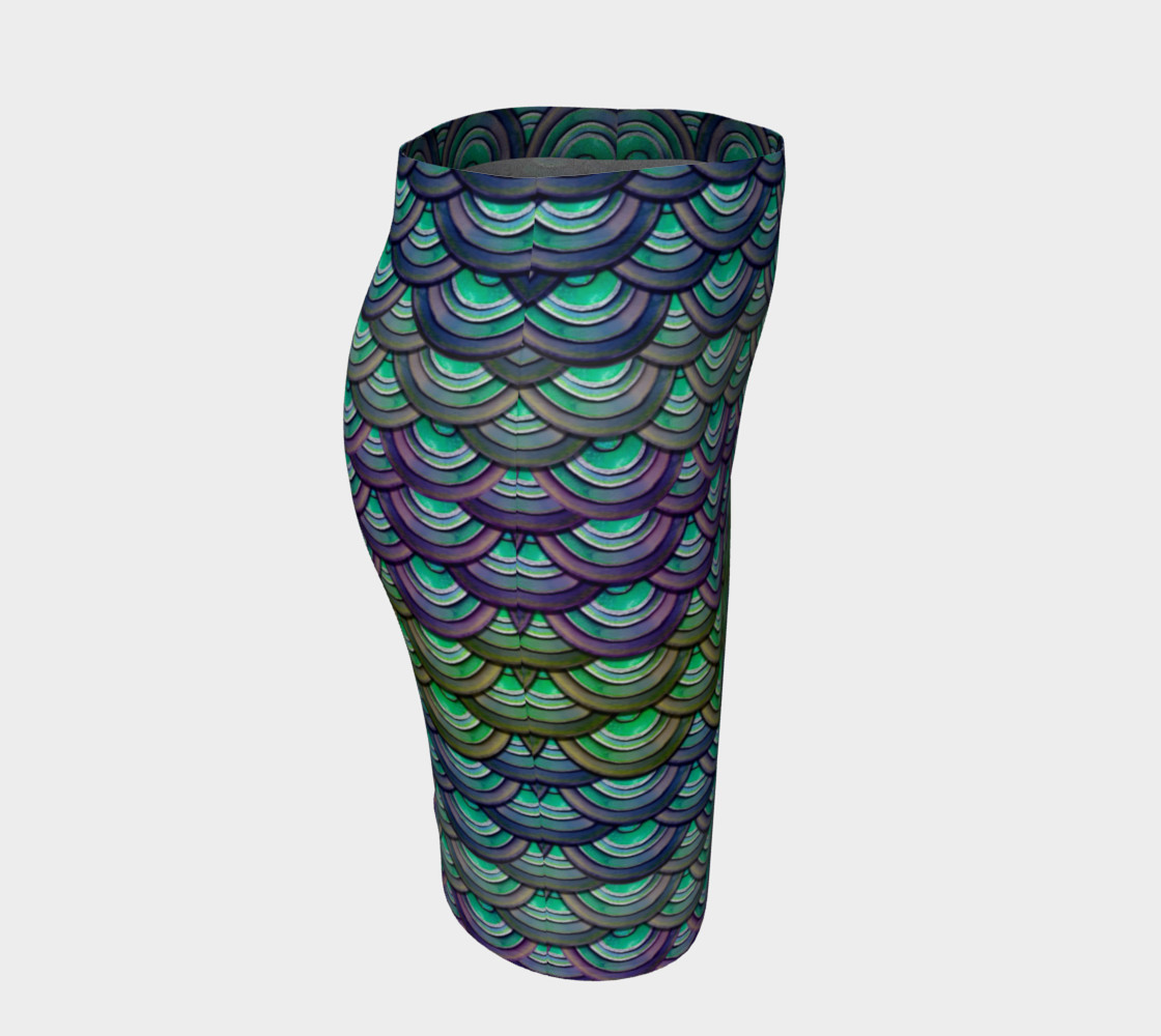 Handpainted Cut Paper Dragon Mermaid Scale Tight Skirt preview #3