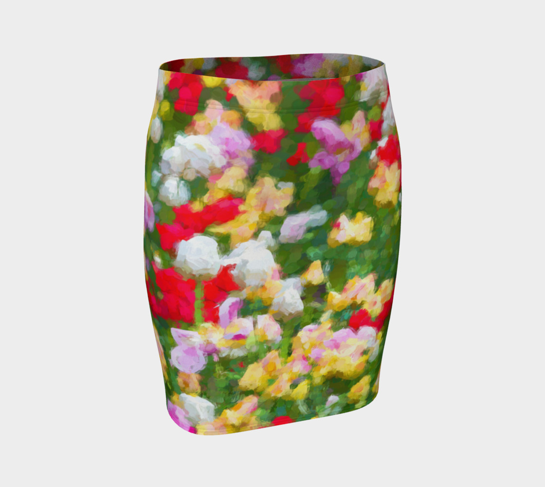 Painted Tulips Fitted Skirt preview #1
