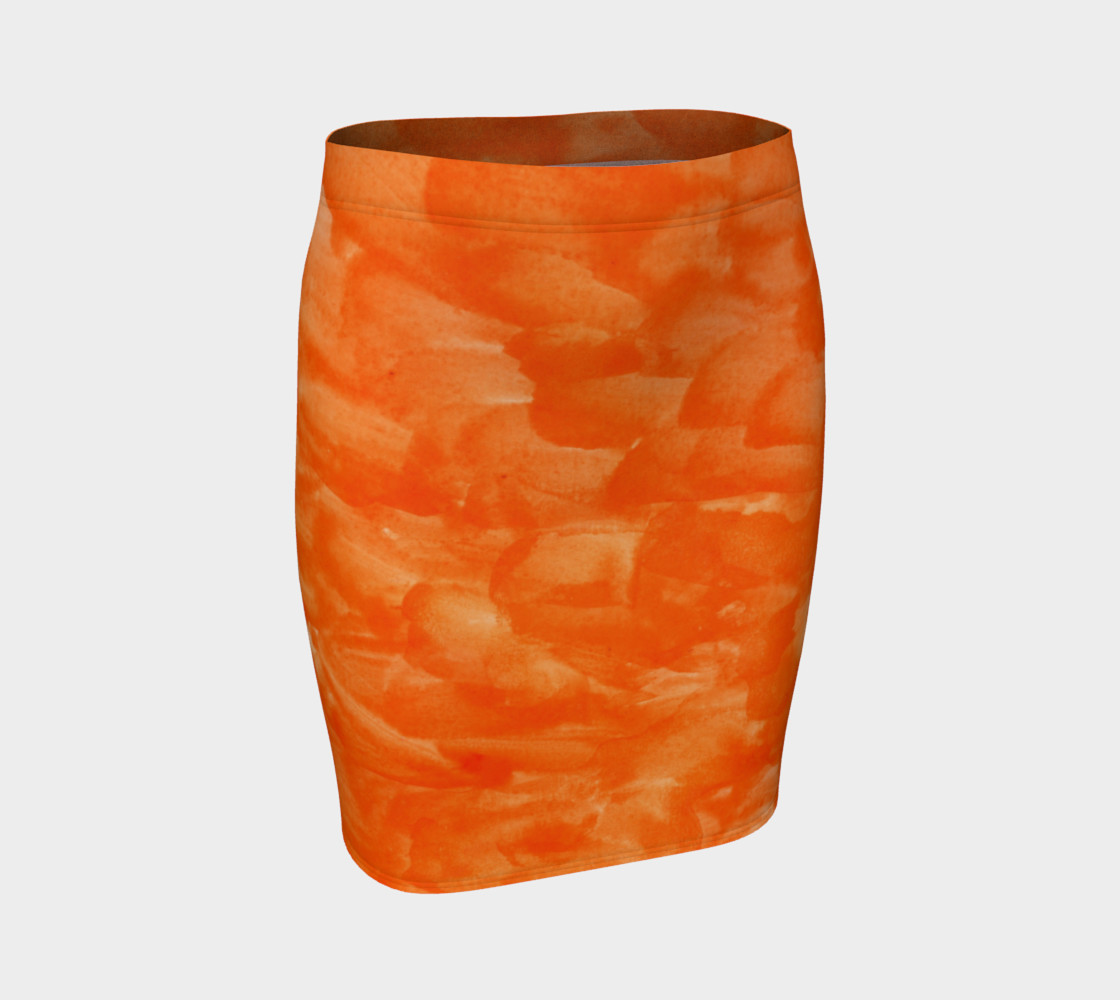 Orange Explosion Fitted Skirt preview #1