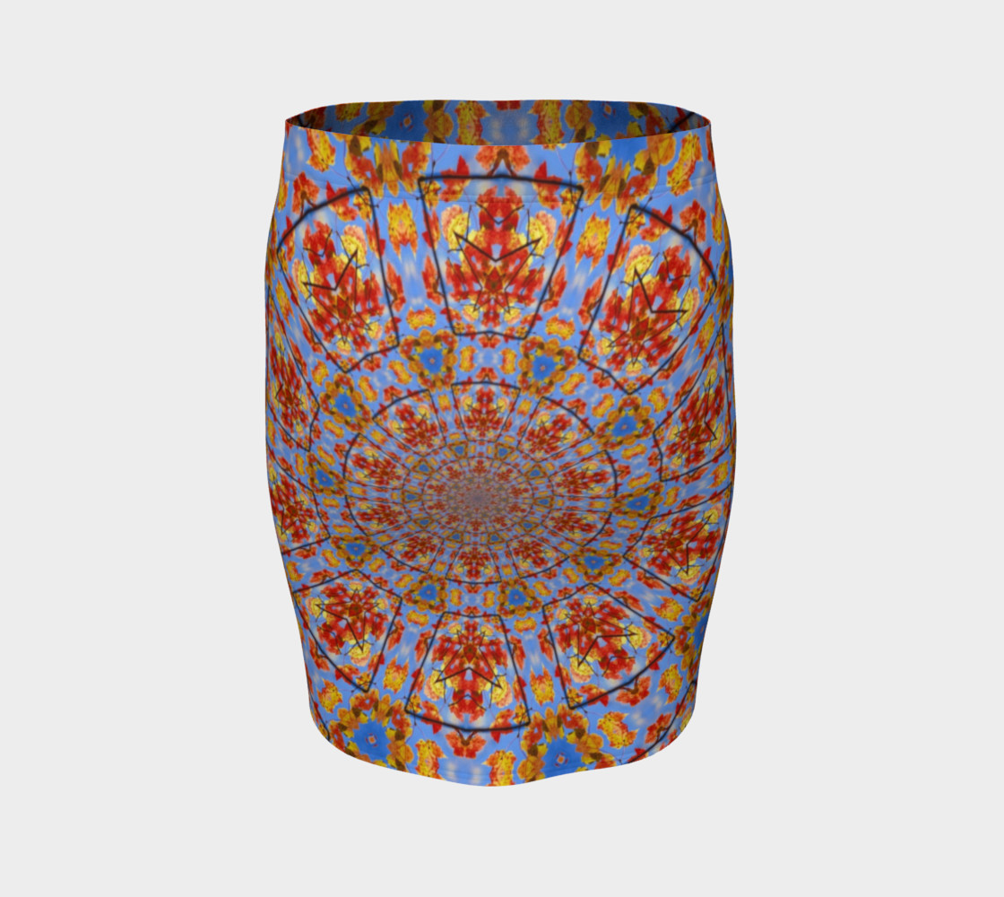 Aperçu de Fall Leaves Mandala Fitted Skirt #4
