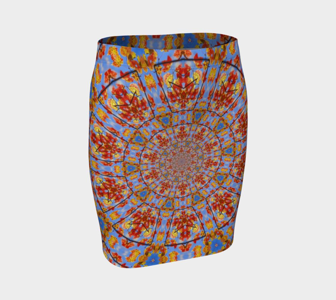Aperçu de Fall Leaves Mandala Fitted Skirt #1