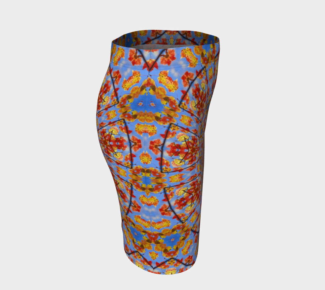 Aperçu de Fall Leaves Mandala Fitted Skirt #3