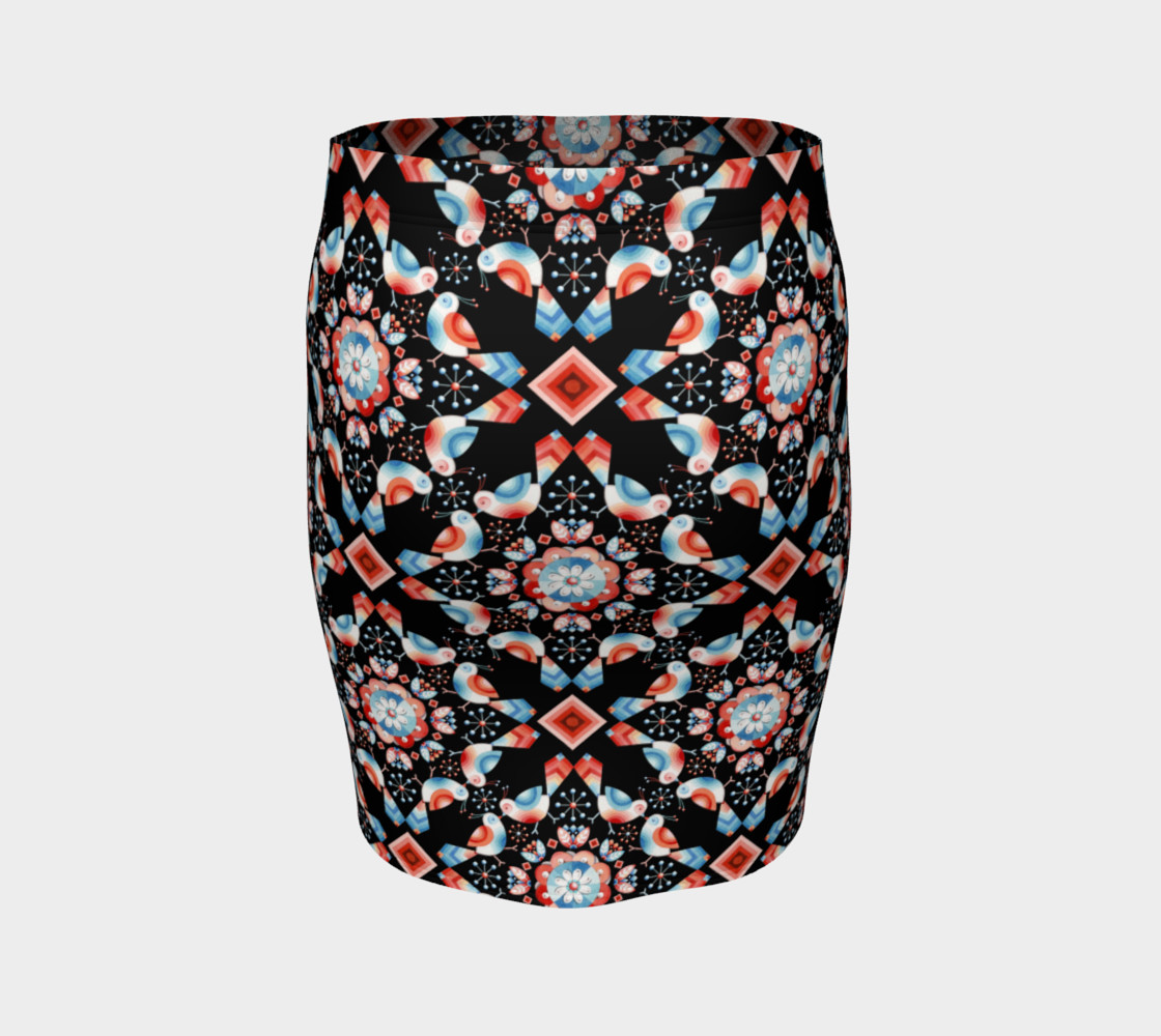 Folkloric Lovebirds Fitted Skirt preview #4