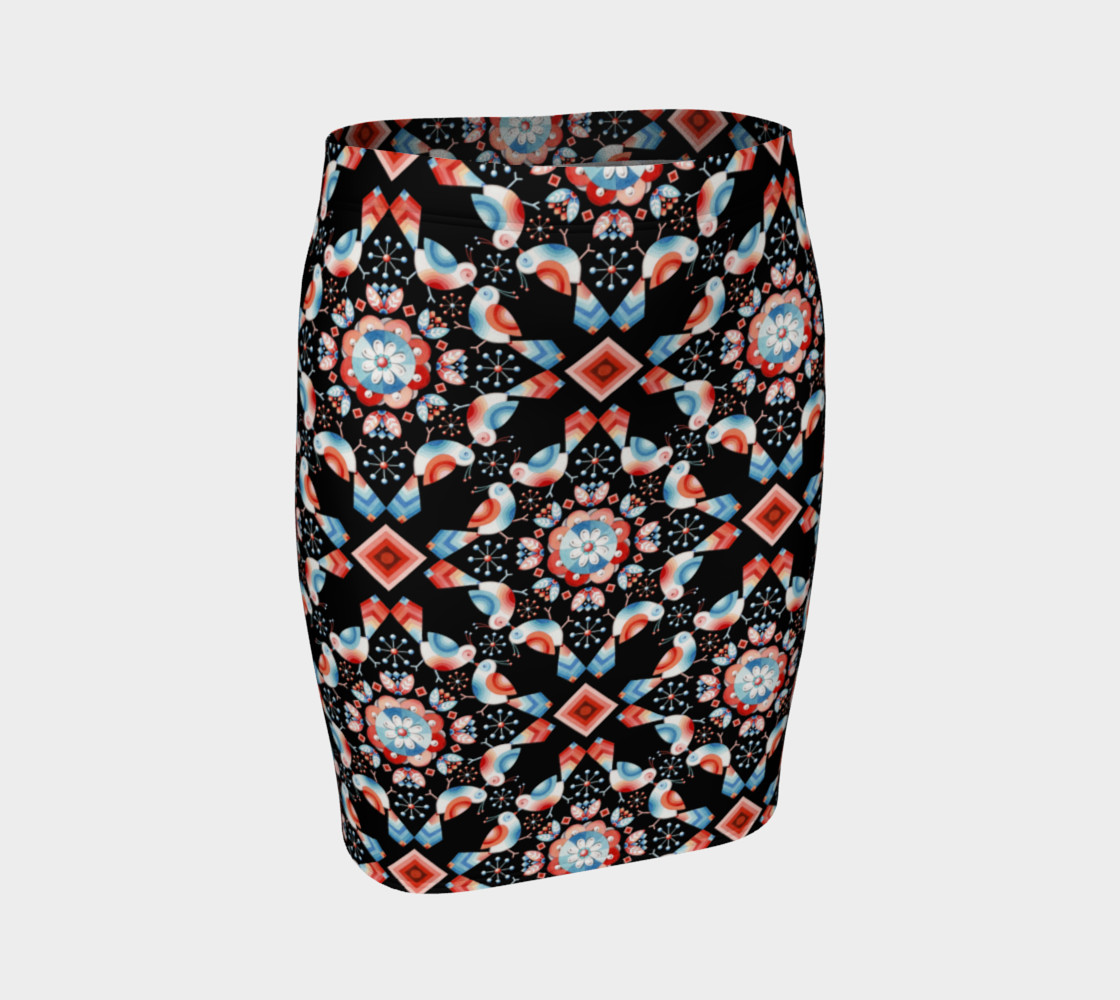 Folkloric Lovebirds Fitted Skirt preview #1