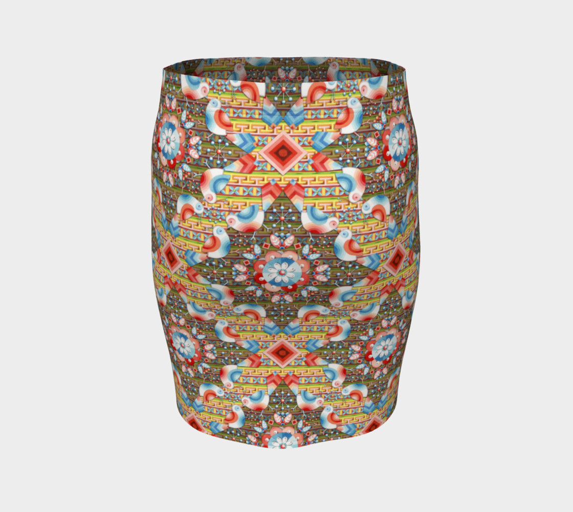 Heraldic Lovebird Fitted Skirt preview #4