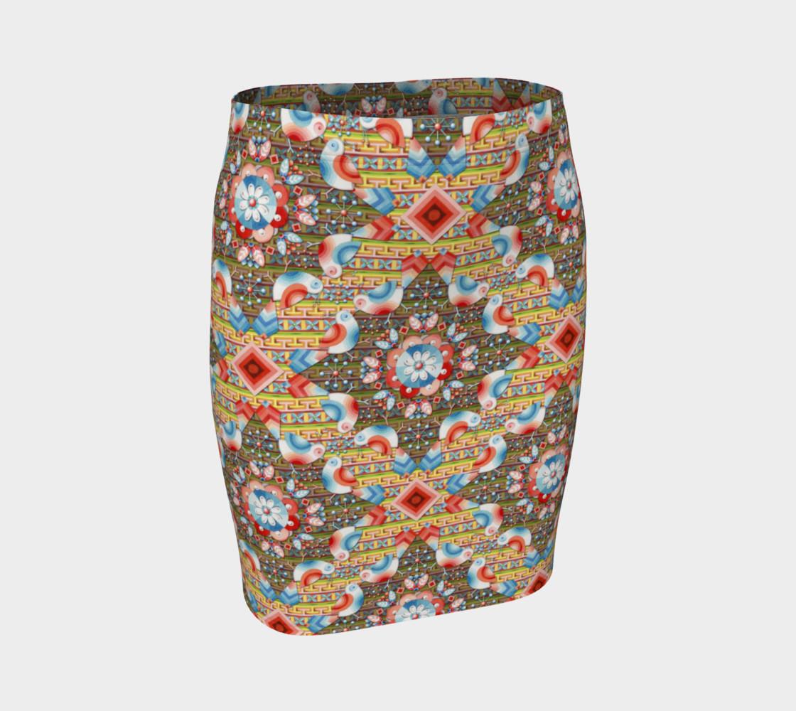 Heraldic Lovebird Fitted Skirt preview #1