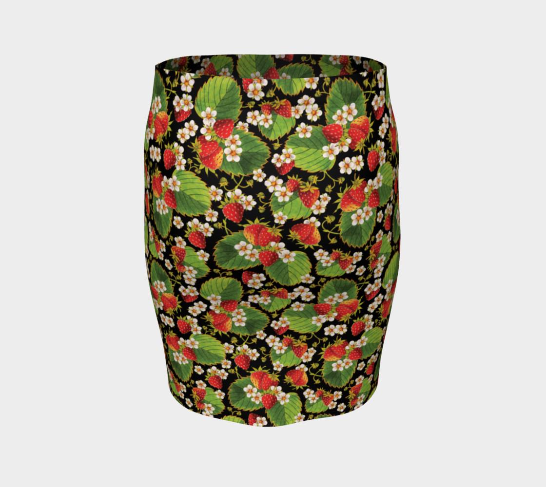Aperçu de Strawberries on Black Ankle Pencil Skirt #4