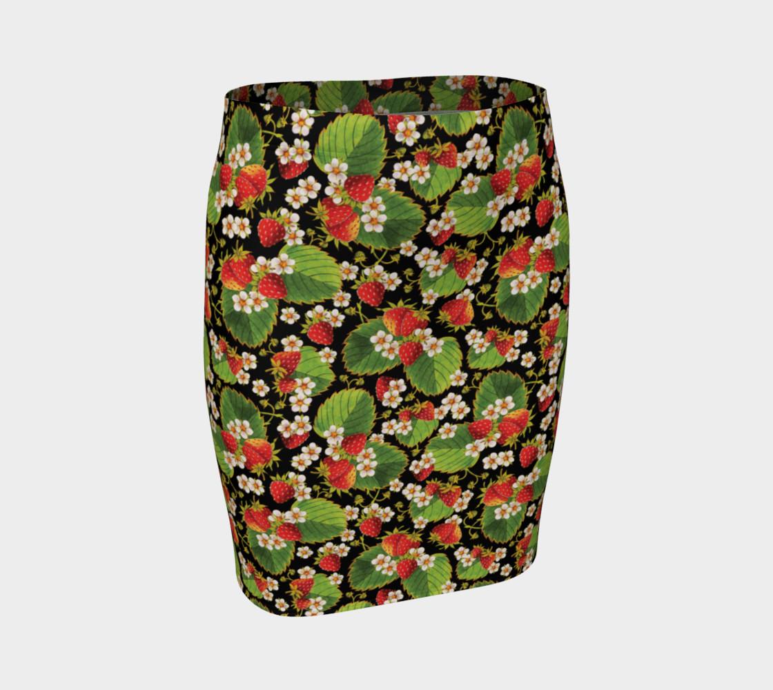 Aperçu de Strawberries on Black Ankle Pencil Skirt #1