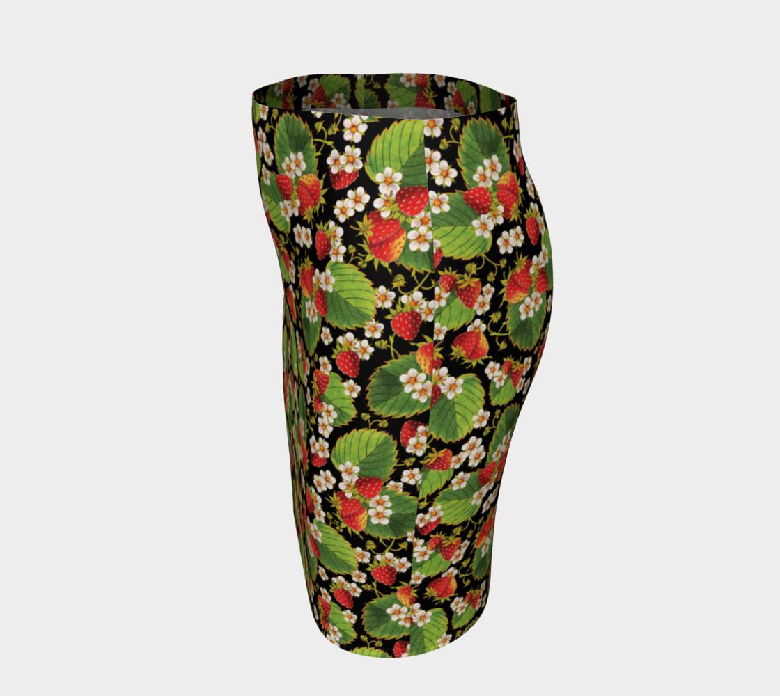 Aperçu de Strawberries on Black Ankle Pencil Skirt #2