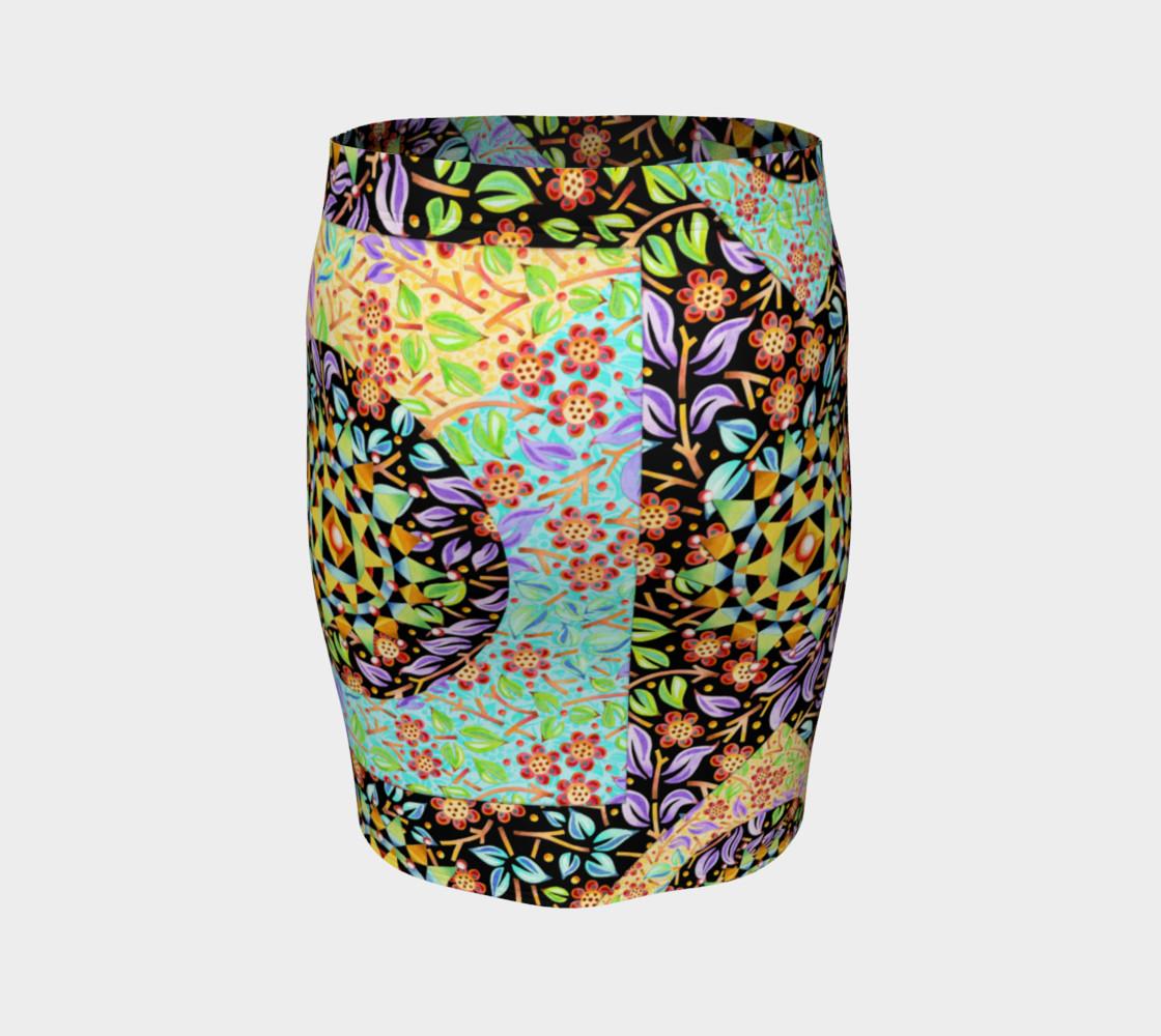 Aperçu de Filgree Floral Patchwork Fitted Skirt #4