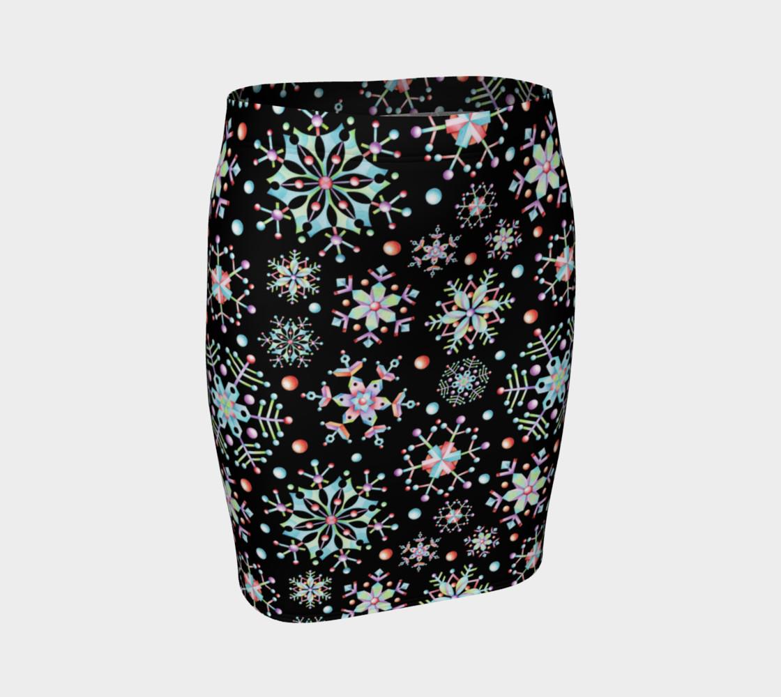 Aperçu de Prismatic Snowflakes Fitted Skirt #1