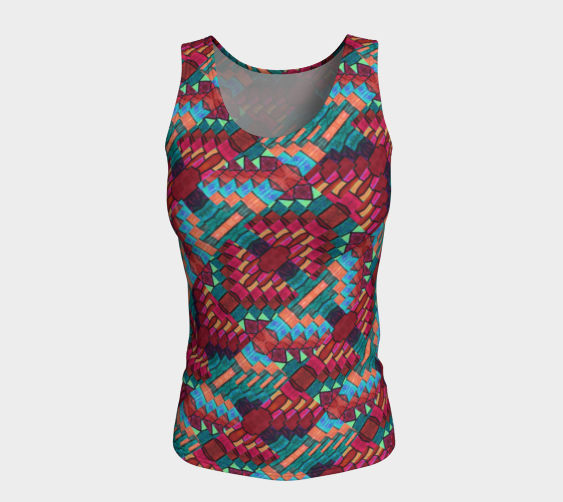 Cranberry Rose Mosaic Fitted Tank Top    preview #5