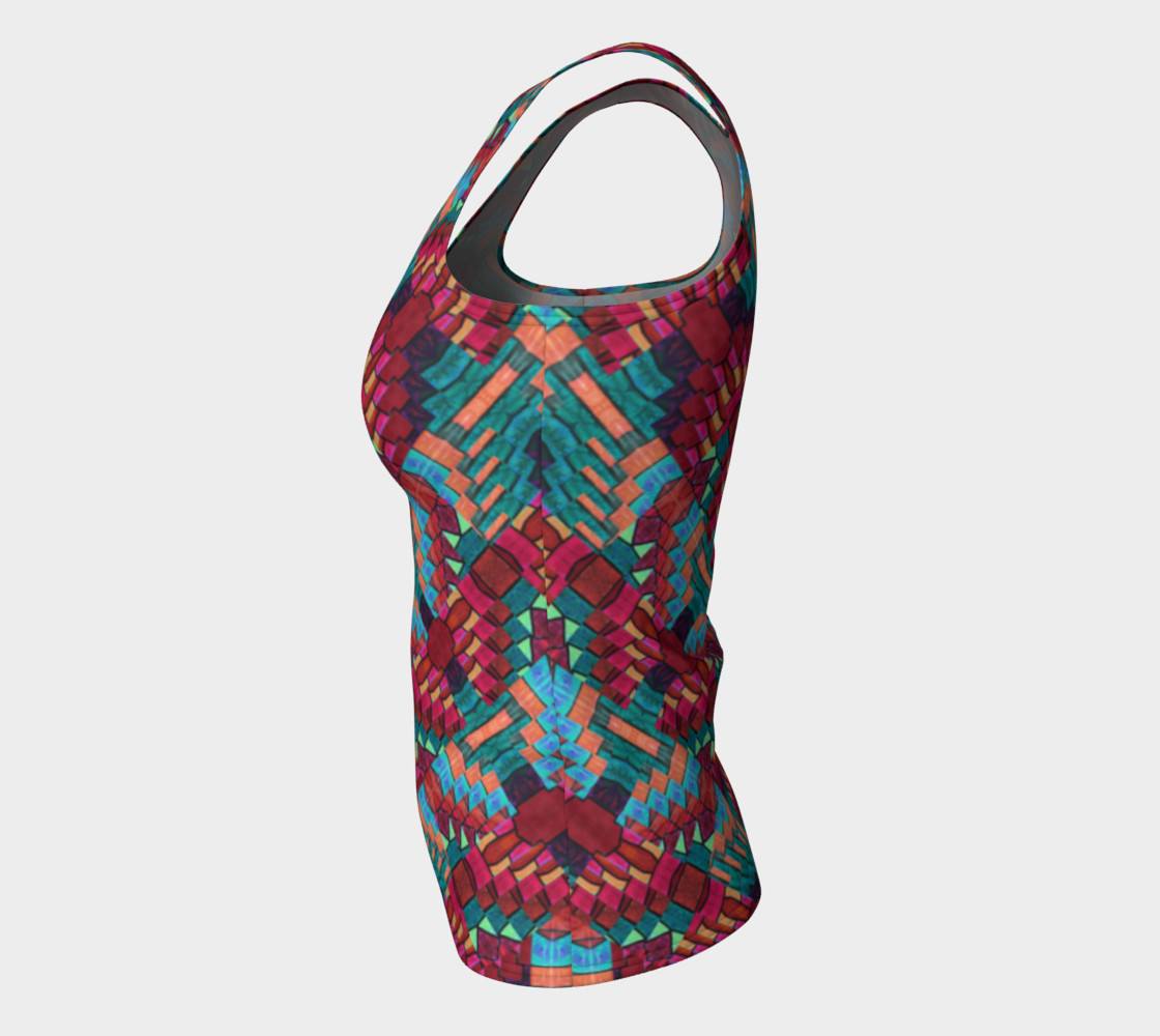 Cranberry Rose Mosaic Fitted Tank Top    preview #7