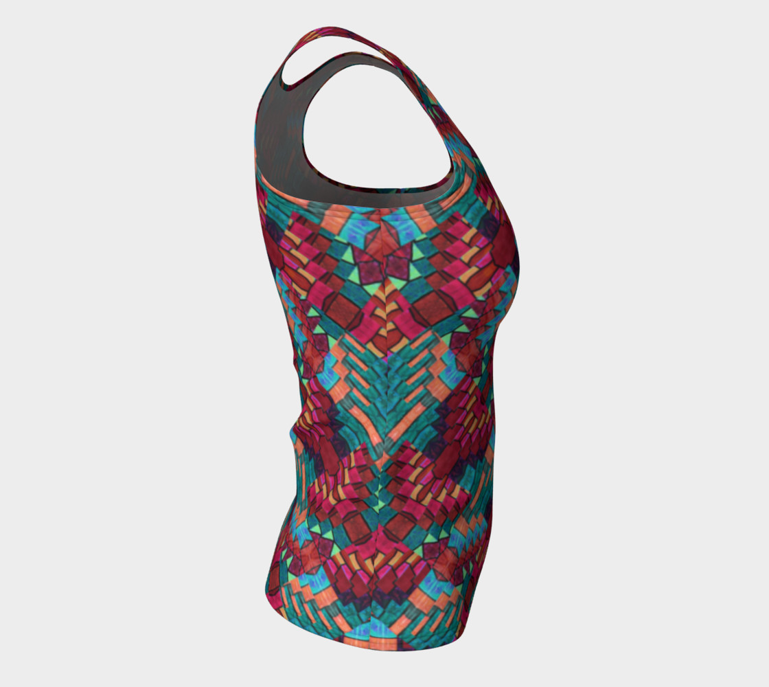 Cranberry Rose Mosaic Fitted Tank Top    preview #8