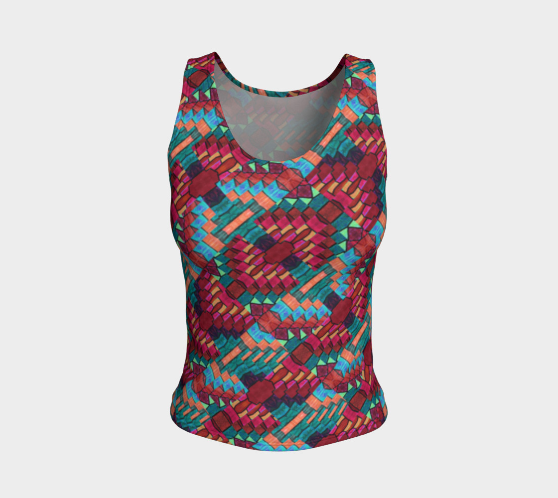 Cranberry Rose Mosaic Fitted Tank Top    preview #1