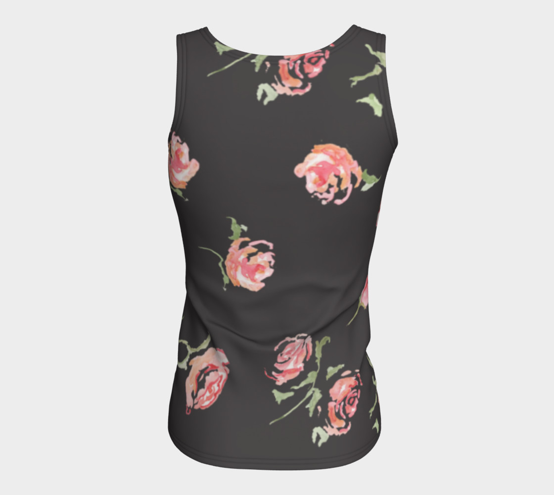 dark gray floral print pink rose activewear womens stretch polyester work out tank shirt preview #6