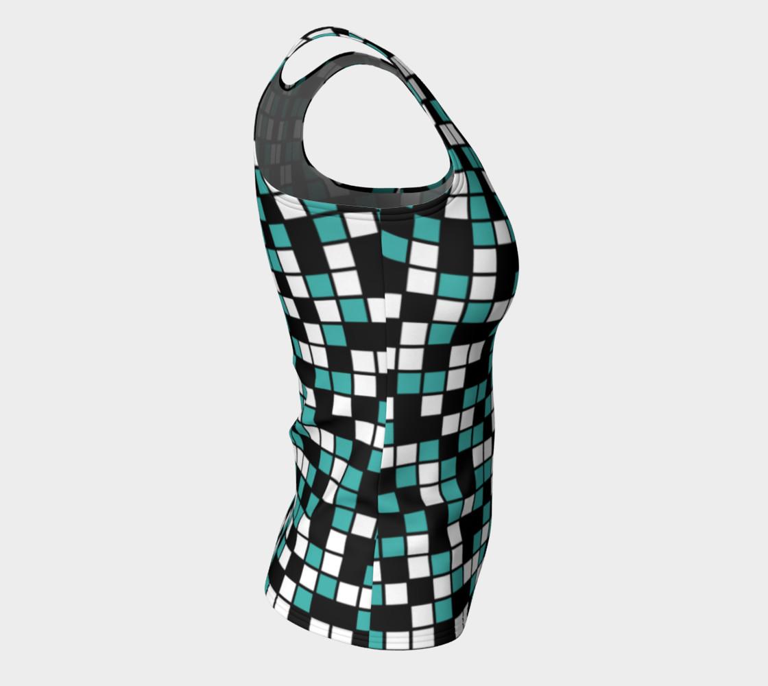 Aperçu de Verdigris, Black, and White Random Mosaic Squares #8