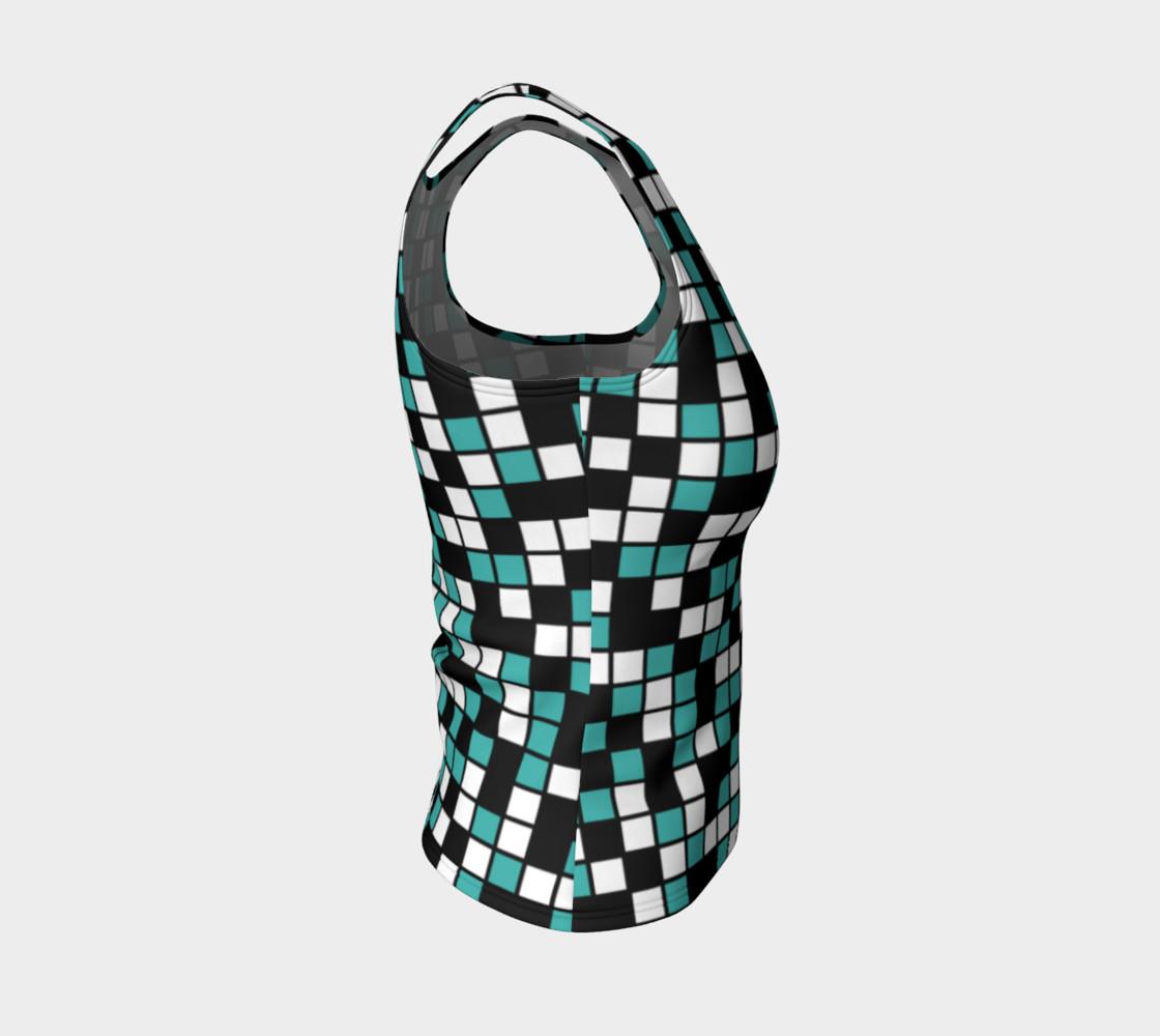 Aperçu de Verdigris, Black, and White Random Mosaic Squares #4