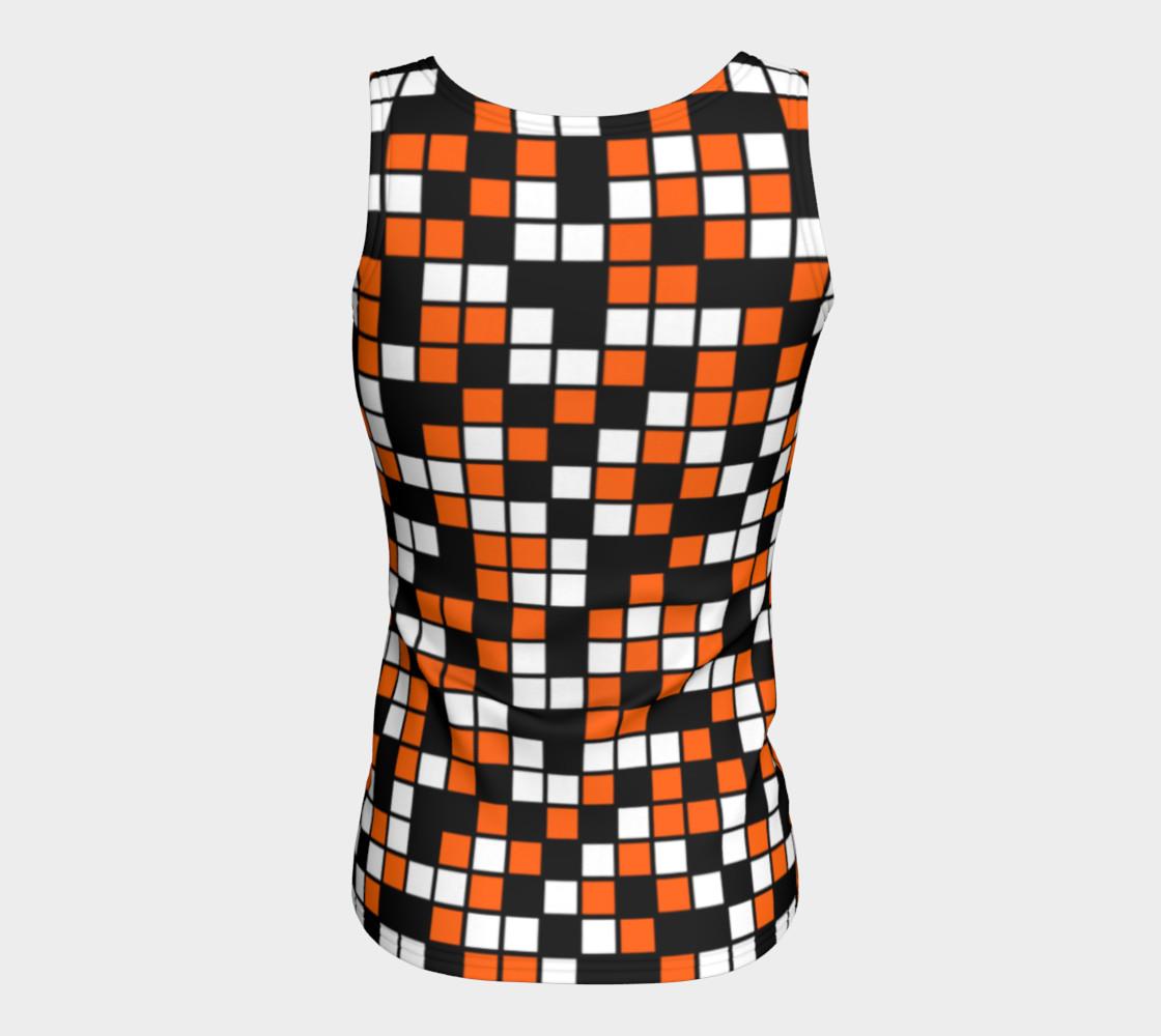 Aperçu de Orange, Black, and White Random Mosaic Squares #6
