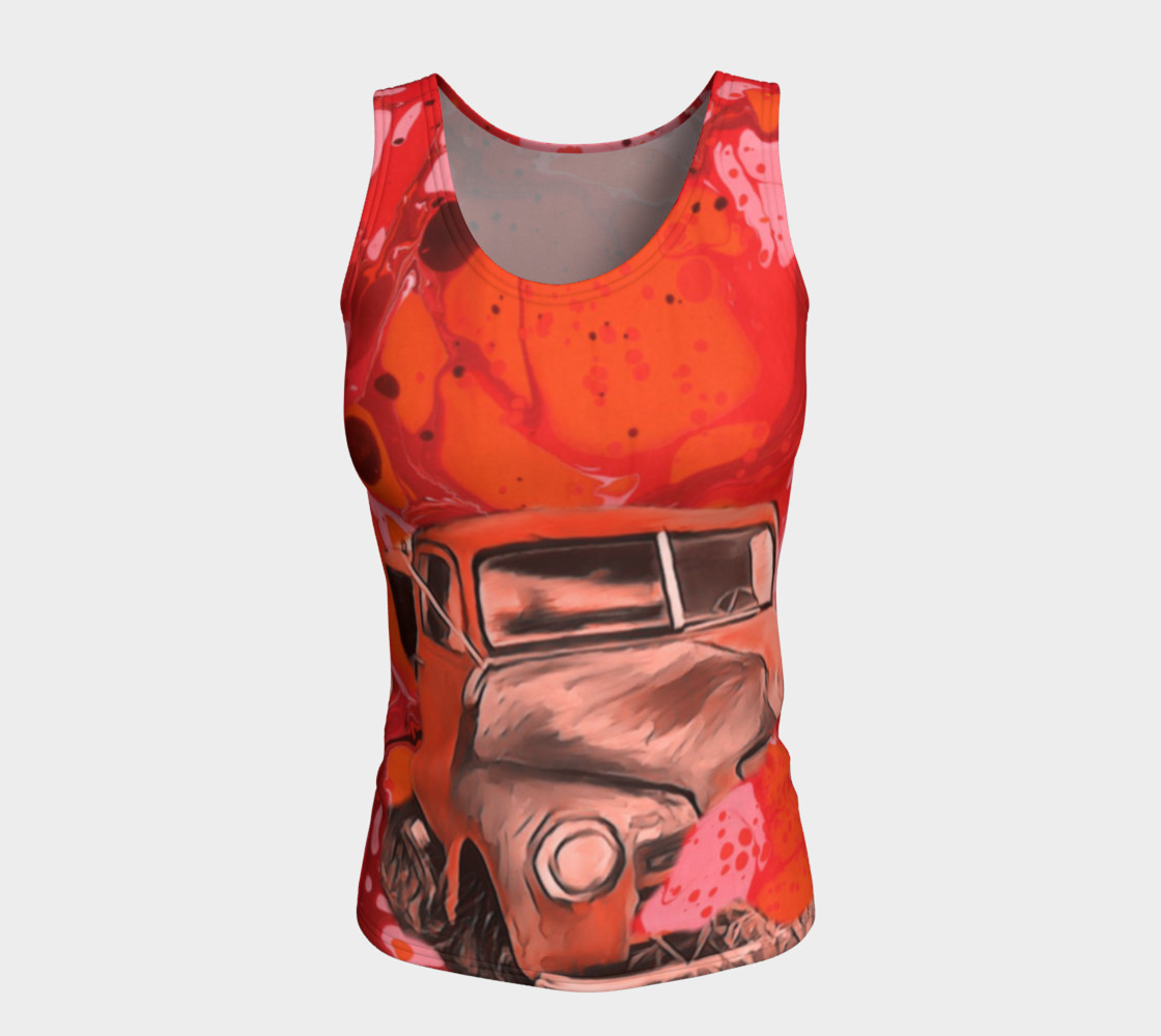 Red truck fitted Tanktop  preview #5