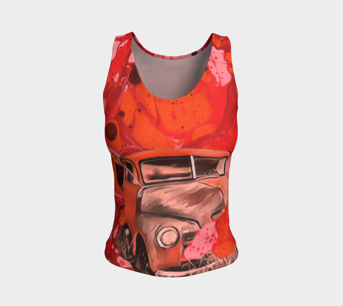 Red truck fitted Tanktop  preview #1