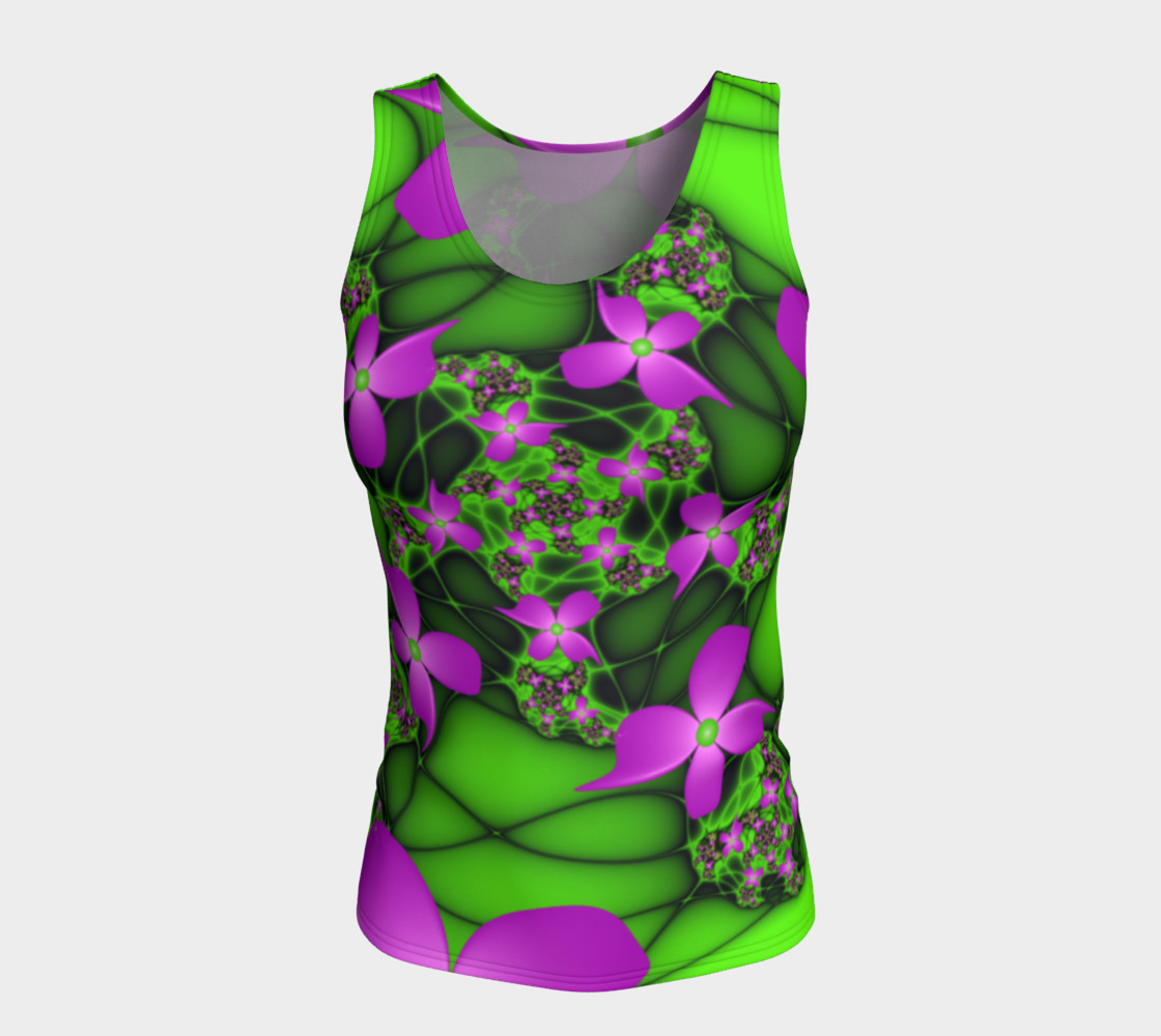 Modern Abstract Neon Pink Green Fractal Flowers preview #5