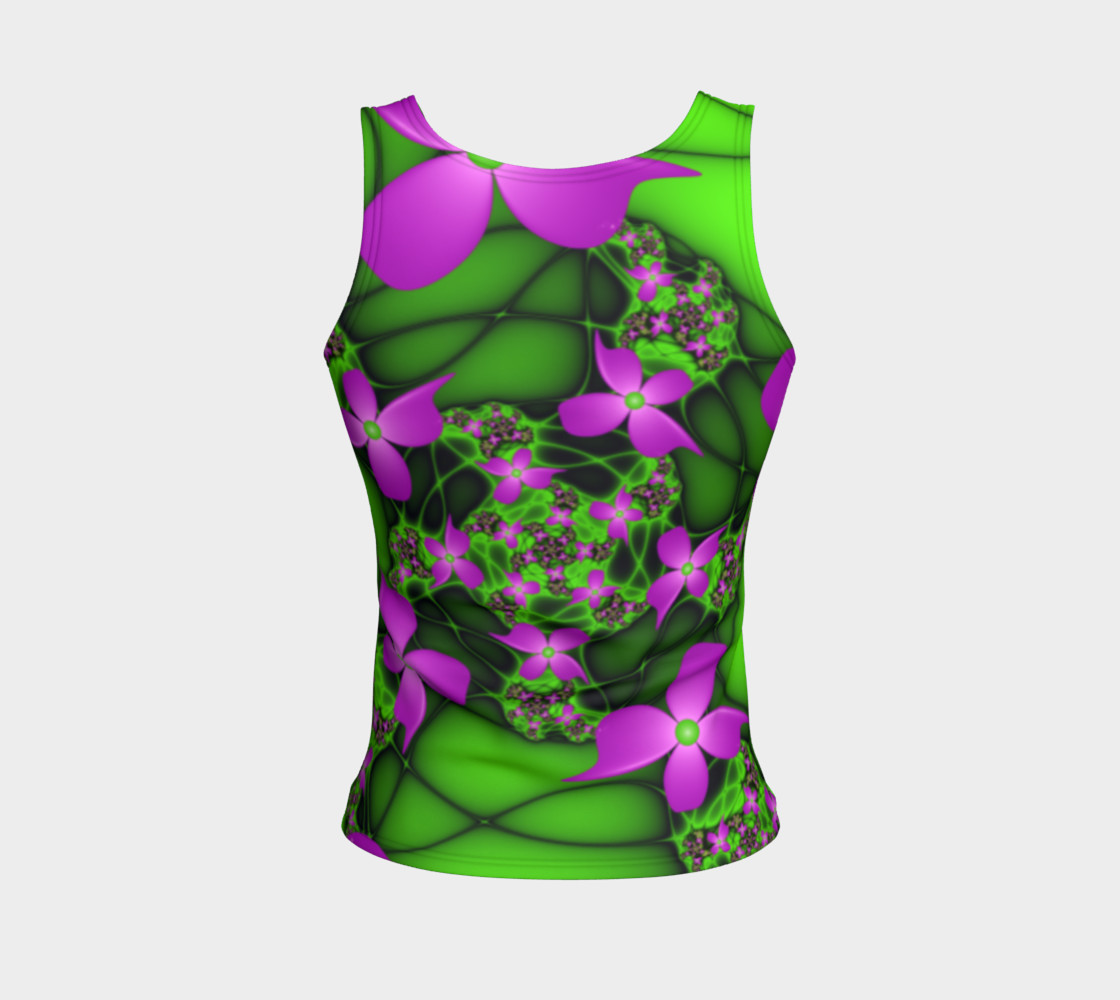 Modern Abstract Neon Pink Green Fractal Flowers preview #2