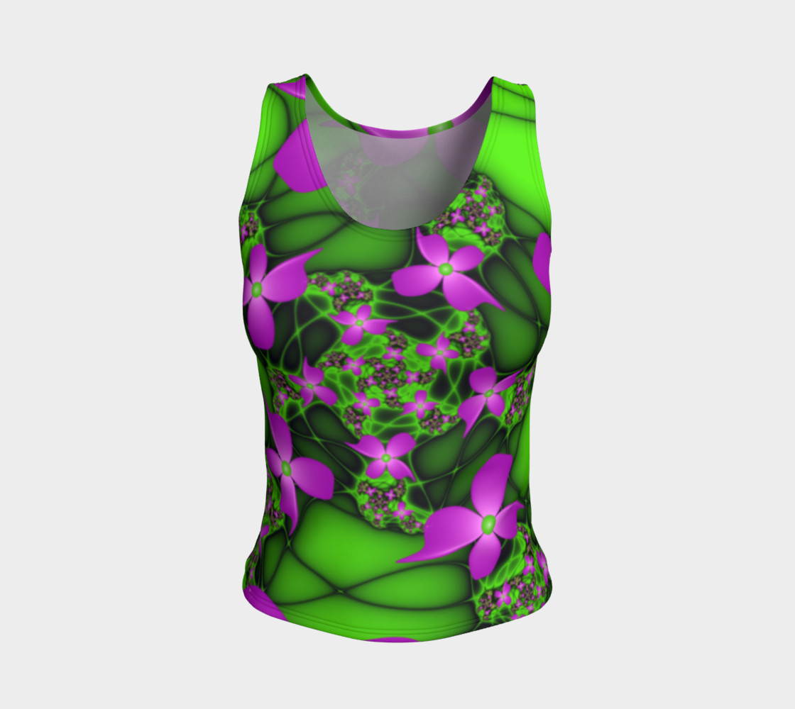Modern Abstract Neon Pink Green Fractal Flowers preview #1