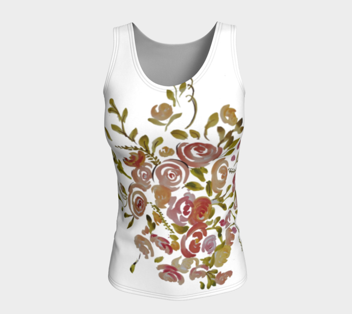 Pink coral floral fitted tank top  preview #5