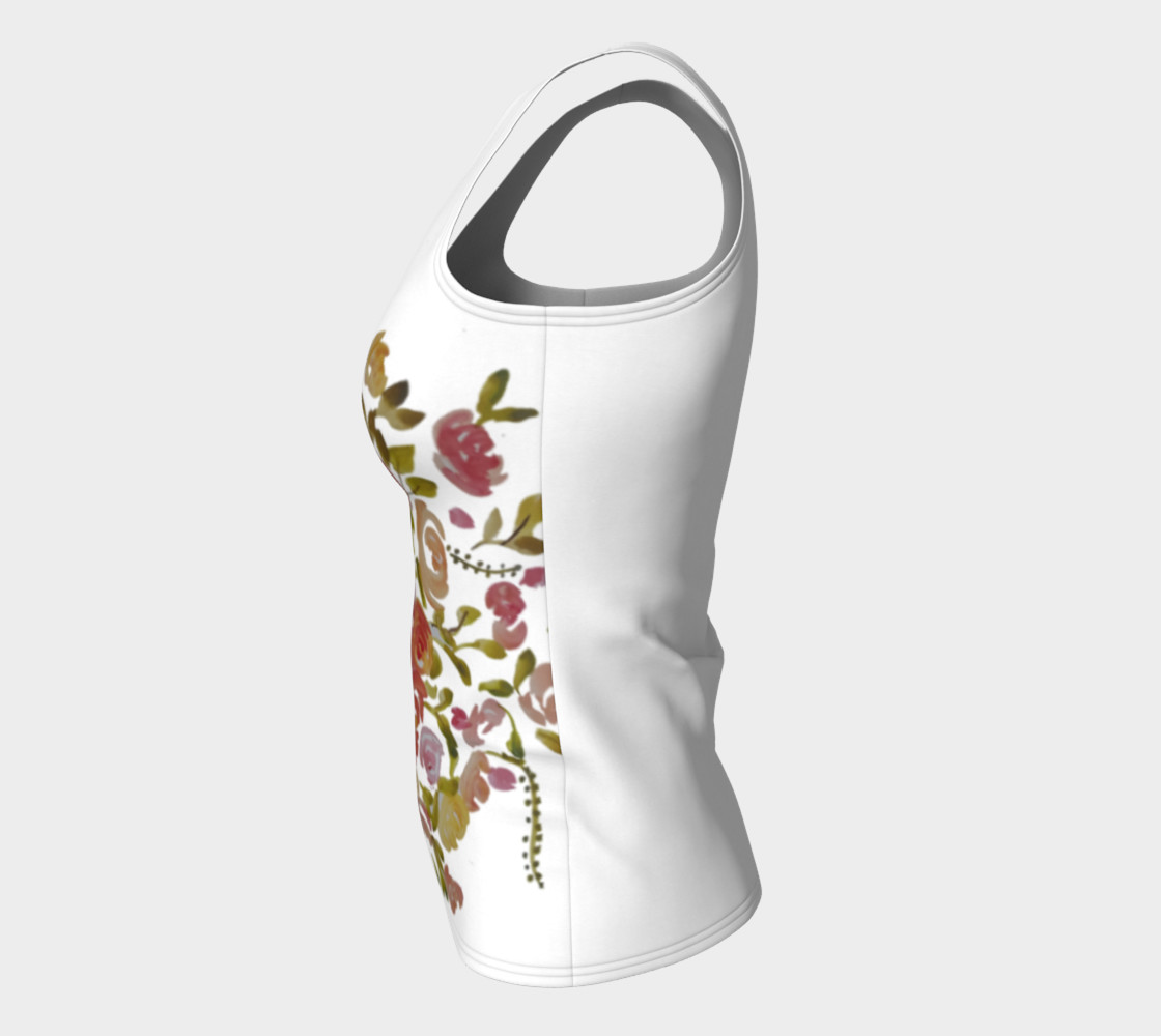 Pink coral floral fitted tank top  preview #7