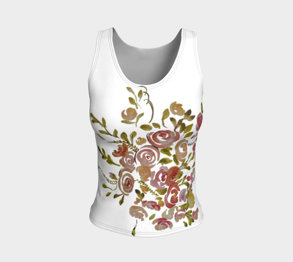 Pink coral floral fitted tank top  preview #1