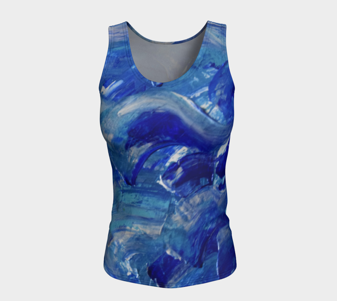 Blue Swoosh Fitted Top by Janet Gervers preview #5