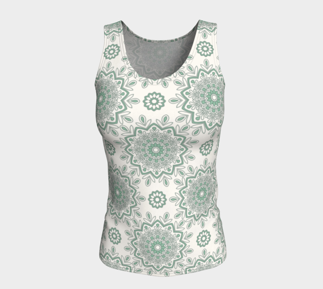 Mystic Mandala Green Fitted Tank Top preview #5