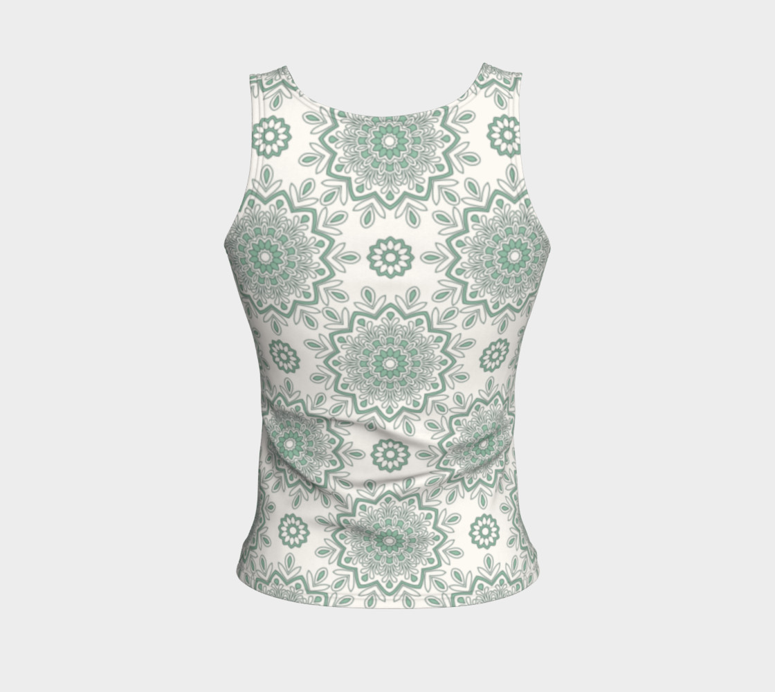 Mystic Mandala Green Fitted Tank Top preview #2