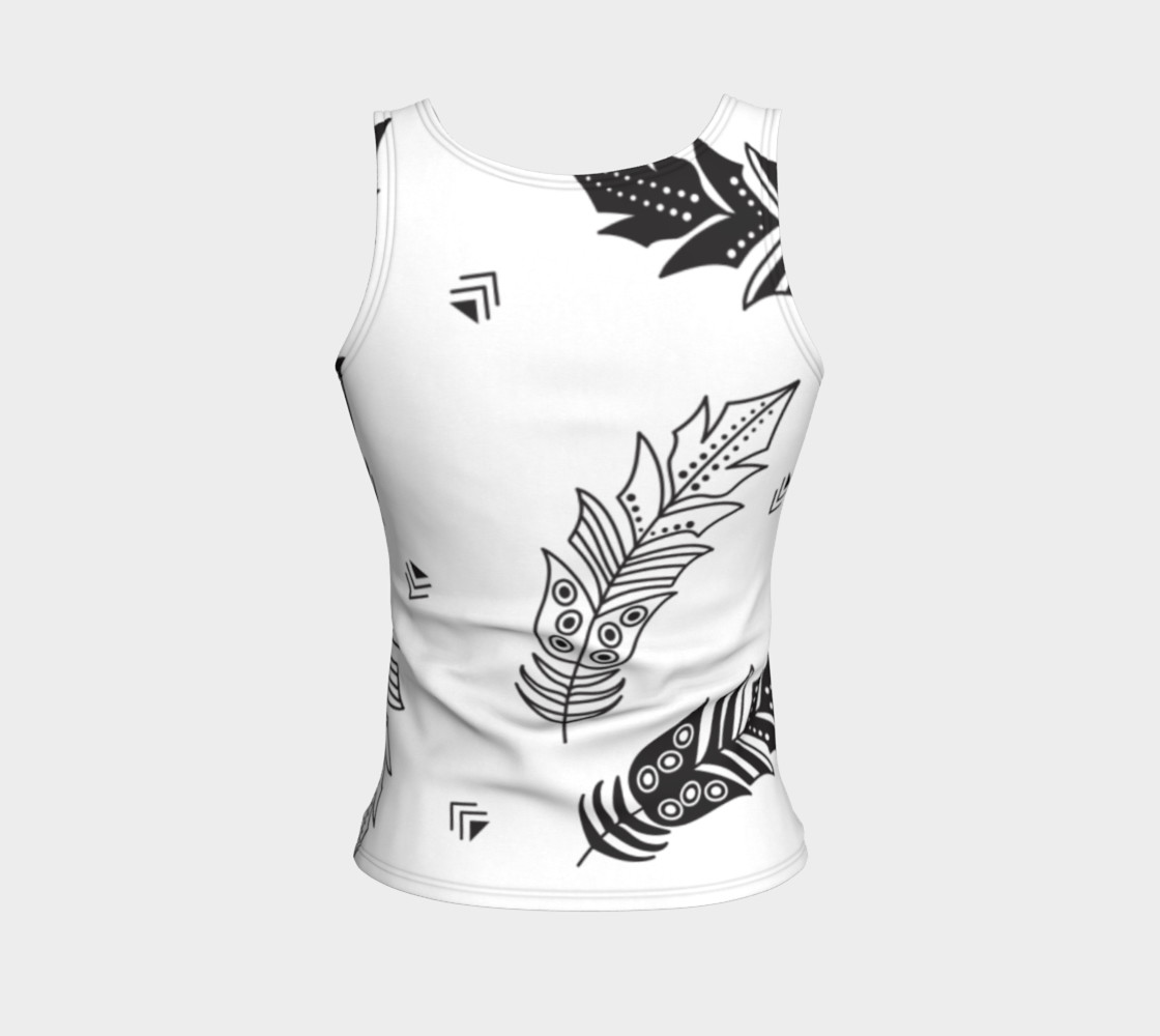 Black & White Feather Fitted Tank Top preview #2
