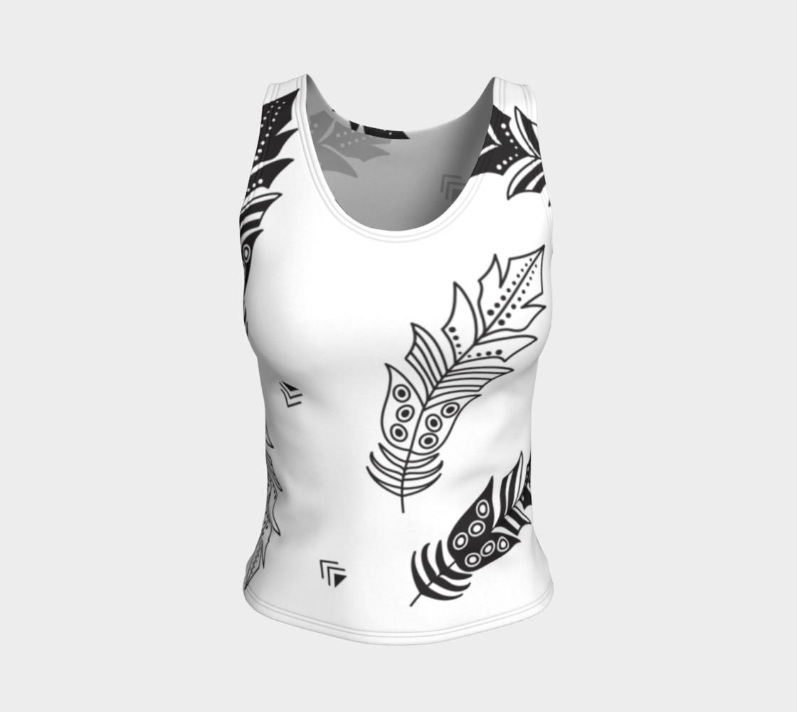 Black & White Feather Fitted Tank Top preview #1
