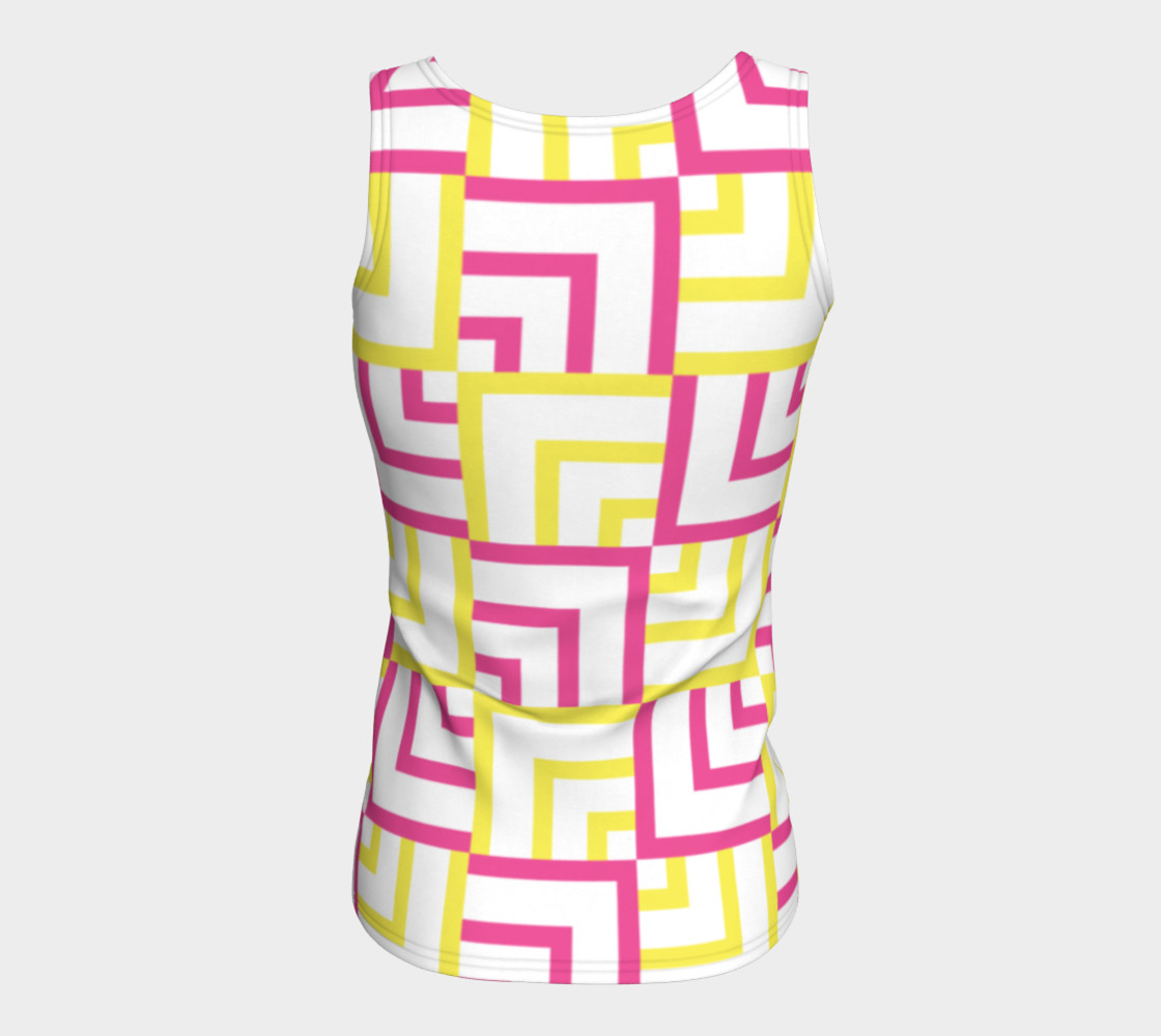 Pink and Yellow Squares Fitted Tank Top preview #6