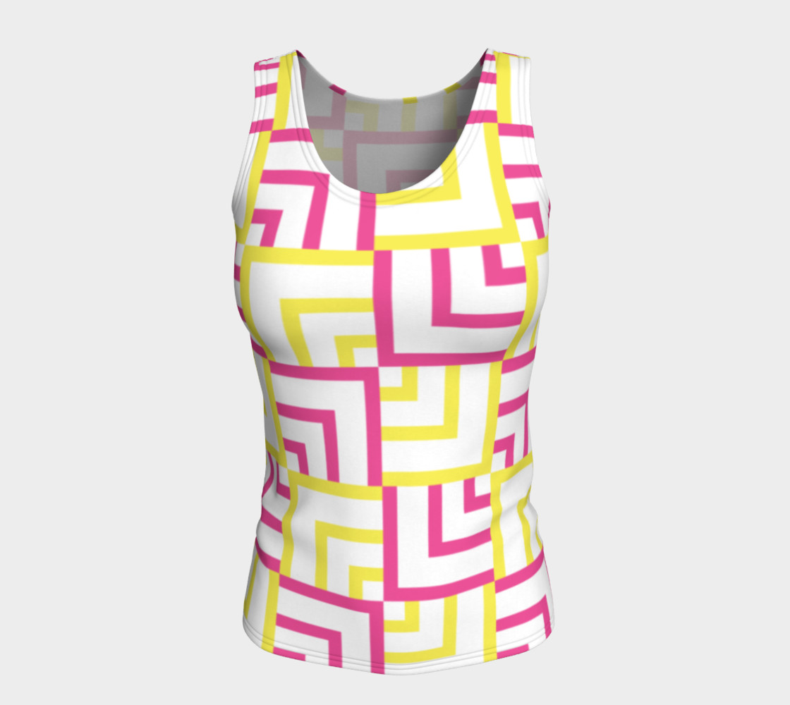 Pink and Yellow Squares Fitted Tank Top preview #5