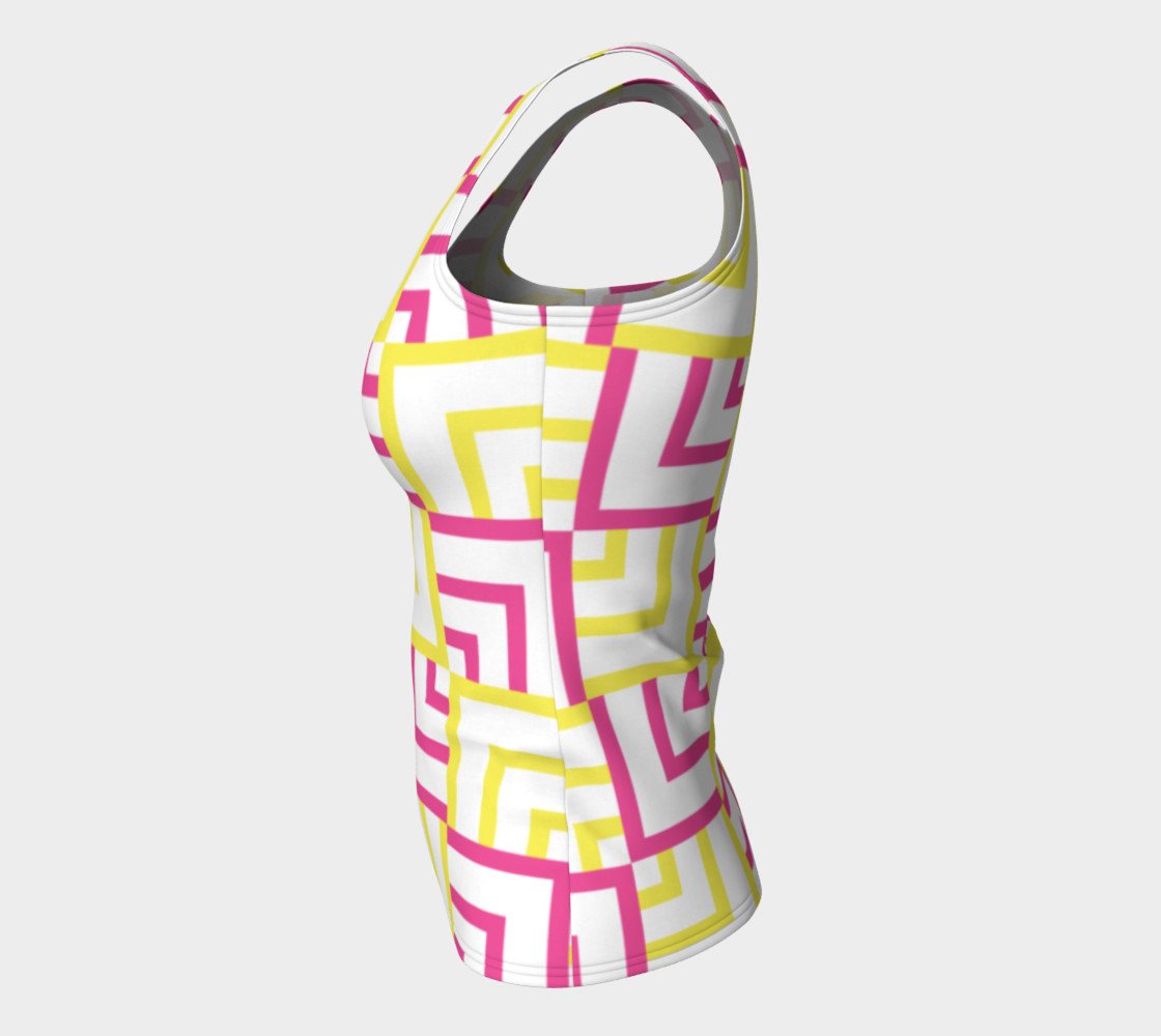 Pink and Yellow Squares Fitted Tank Top preview #7