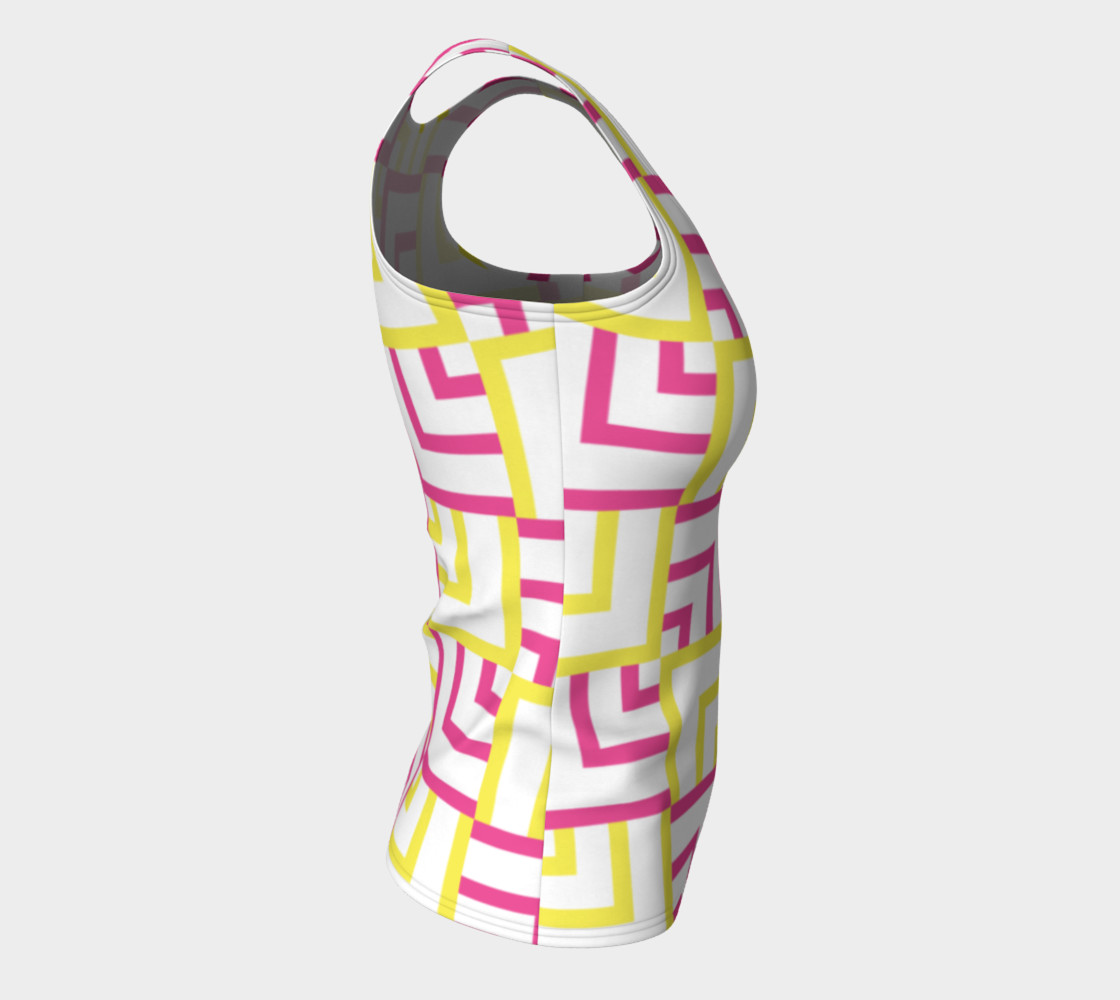 Pink and Yellow Squares Fitted Tank Top preview #8