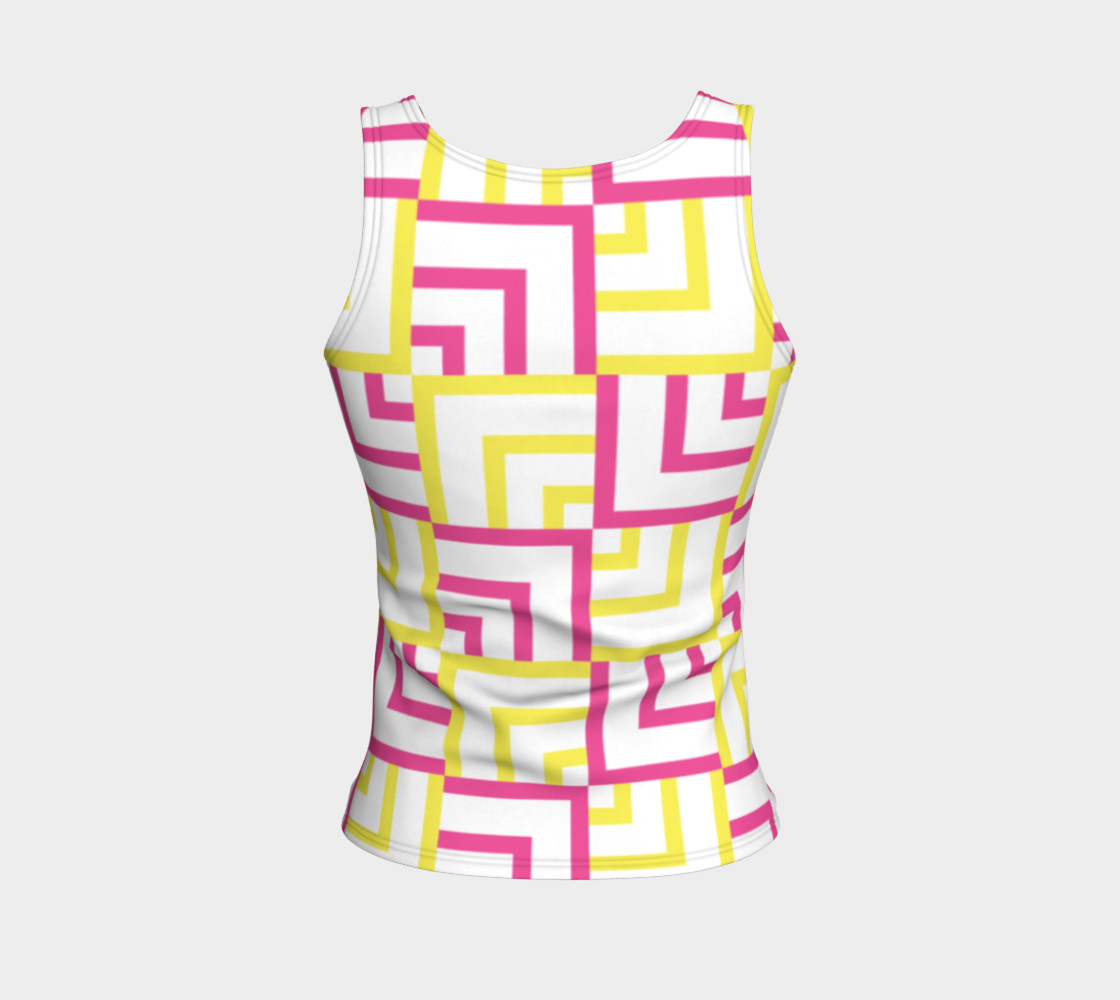 Pink and Yellow Squares Fitted Tank Top preview #2
