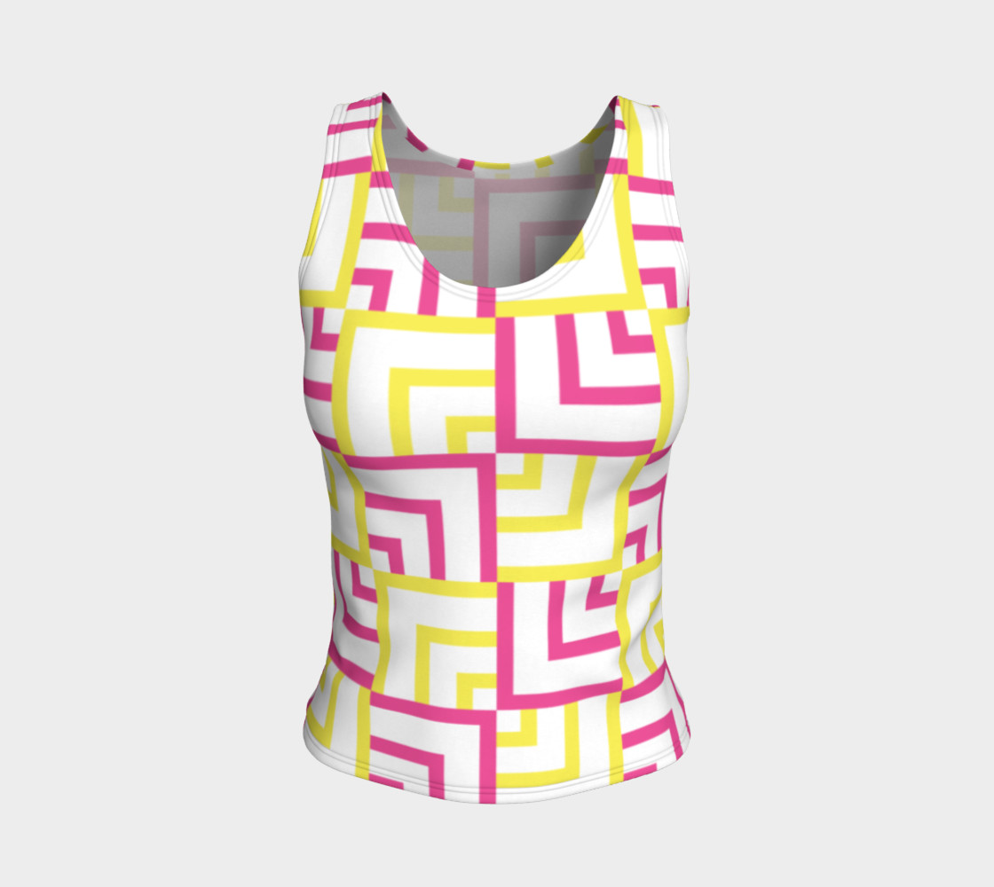 Pink and Yellow Squares Fitted Tank Top preview #1