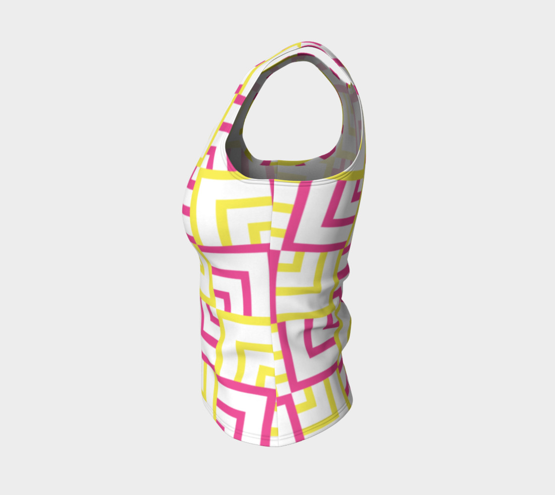 Pink and Yellow Squares Fitted Tank Top preview #3