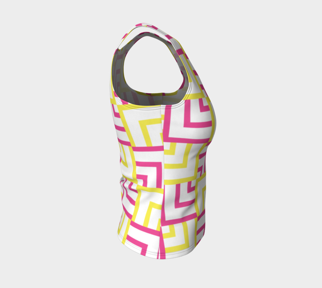 Pink and Yellow Squares Fitted Tank Top preview #4
